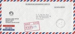 Maldives 1985 Male Unfranked Official Registered Cover With MALE GPO Registration Handstamp In Box - Maldiven (1965-...)