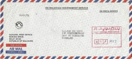 Maldives 1985 Male Unfranked Official Registered Cover With MALE GENERAL POST OFFICE Registration Handstamp In Box - Maldiven (1965-...)