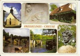 """CP De FRESSELINES """" L'église , Maison De Gaston Thierrey , Pont De Vevrvy , Passerelle... , Maurice Rollinat """" - Dun Le Palestel"""