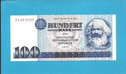 German Democratic Republic - 100 Mark - 1975 - Pick 31.s - UNC. - Prefix ZA - Replacement -  NARROW Serial # - Karl Marx - 100 Mark
