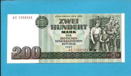 German Democratic Republic - 200 Mark - 1985 - Pick 32 - UNC. - Prefix AE -  2 Scans - [ 6] 1949-1990 : RDA - Rep. Dem. Tedesca