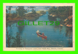 NORTH BAY, ONTARIO - EVENING IN CANOE ON TIMAGAMI LAKES - TRAVEL IN 1948 - PUB. BY JACK H. BAIN - - North Bay
