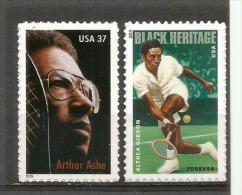 ETATS-UNIS.Champions De Tennis Afro-Américains (Arthur Ashe & Althea Gibson).  2 T-p Neufs ** - Tennis
