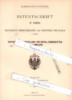 Original Patent - H. Drenckhahn Und M. Meixner In Basel , 1880 , Metall-Farbenstifte !!! - Documents Historiques