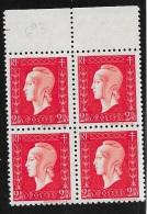 BLOC DE 4 TIMBRES  N°  693   FRANCE  -  MARIANNE DE DULAC   -  1945 -  NEUF - Ongebruikt