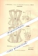 Original Patent - A. Hentschel In Berlin , 1880 , Corset , Korsett , Fa. Leisegang !!! - Leibwäsche
