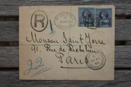 Registered Cover Smyrna British Post Office For Paris France Via Constantinople Paris Etranger Chargement - British Levant