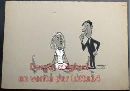 Dessin Humoristique Original De Freddy (7) : Patinage Artistique, Patineuse Tombée En Grand écart - 35x25 Cm - Dibujos