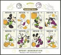 NEVIS 1998 DISNEY SPORTS PASTIMES BASKETBALL MICKEYS 70TH ANNIVERSARY SET OF 2 SHEETLETS MNH - St.Kitts And Nevis ( 1983-...)