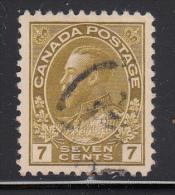 Canada Used Scott #113c 7c George V Admiral Issue, Sage Green - 1911-1935 Regno Di George V