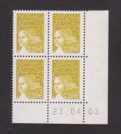 FRANCE / 2003 / Y&T N° 3570 ** : LUQUET RF 0.58 € Jaune-olive (4 TP En Coin Daté 2003/04/23 ( )) - 2000-2009