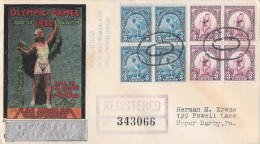 US 1932 Olympic Village Cachet 10th Summer Olympics Opening Day Cover Sc 718 719 Registered - Summer 1932: Los Angeles