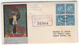 US 1932 Olympic Village Cachet Summer Opening Day Registered Cover Sc# 719 Block Of 4