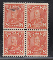Canada Used Scott #172 8c George V Arch Issue, Red Orange Block Of 4 - Oblitérés