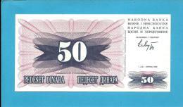BOSNIA & HERZEGIVINA - 50 DINARA - 1992 - Pick 12 - UNC. -  Prefix FE - Narodna Banka Bosne I Hercegovine - Bosnia Y Herzegovina