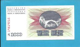 BOSNIA & HERZEGIVINA - 1000 DINARA - 1992 - Pick 15 - UNC. -  Prefix JA - Narodna Banka Bosne I Hercegovine - Bosnia Erzegovina