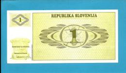 SLOVENIA - 1 TOLAR - 1990 - Pick 1 -  UNC. - Prefix AL - Republika Slovenija - 2 Scans - Slovénie