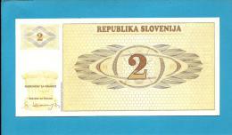 SLOVENIA - 2 TOLARJEV - 1990 - Pick 2 -  UNC. - Prefix AJ - Republika Slovenija - 2 Scans - Slovénie