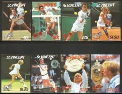 St. Vincent 1987 Mi# 1020-1027 U ** MNH - Imperf. - Wimbledon Tennis Championships - Tennis