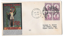 US 1932 Summer Olympic Village Cachet Opening Day Cover Sc 718 3c Block Of 4 - Summer 1932: Los Angeles