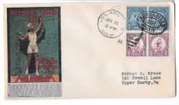 US 1932 Olympic Village Silver Overprint Cachet 10th Summer Olympics Opening Day Cover Sc 718 719 Pairs