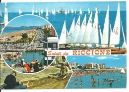 ! - Emilie-Romagne - Riccione - Vues Diverses - Carte Postale Avec Timbre Oblitéré - Italie