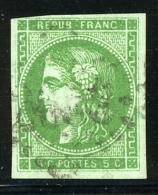 N°42B - Vert Jaune - 1 Filet Biseau - Sinon TB - 1870 Emission De Bordeaux