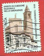 ITALIA REPUBBLICA USATO - 2015 - Centenario Del Terremoto Della Marsica - € 0,80 - S. ---- - 2011-...: Usati
