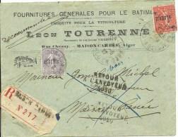 Marcophilie - Lettre Recommandée Algérie -  Retour à L´envoyeur 1927 - Covers & Documents