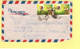 2r Inter. Youth Year (x2), 20p Child Nutrition & 5p Fish Air Mail**c1985 Scott #1108, 839. 837 Neemuch To Turku, Finland - India