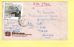 2r Indra Gandhi Memorial (x3),  50p Jawaharlal Nehru Air Mail**1987 Scott #1098, 846a Bailai To Turku, Finland - India