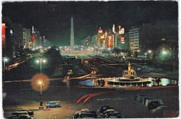 Cpsm BUENOS AIRES Plaza De La Republica Vista Nocturna
