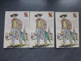 BOURBONNAIS, Lot De 4 CP Margotton Colorisées à La Main, Vers 1940 ? ; Ref 666 - France