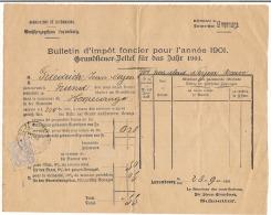 Grand-Duché De Luxembourg Bulletin D´impôt Foncier Pour L´année 1901 Timbre Oblitéré 1901 - Luxembourg