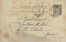 ENTIER POSTAL TYPE SAGE BOITE RURALE K DE 1895 CACHET AMBULANT LA CLUSE A SAINT CLAUDE - Marcophilie (Lettres)