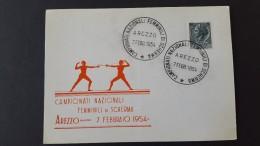 Italy 1954 Campionati Femminili Di Scherma  Souvenir Cover - 6. 1946-.. Republic