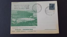 Italy 1954 Incontro Internazionale Di Calcio Italia Argentina Souvenir Card - 6. 1946-.. Republic