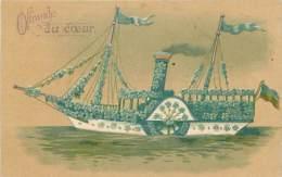 BATEAU . OFFRANDE DU COEUR . CARTE GAUFREE . - Barche
