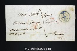 Italy Letter 1862, Vin ?in Blue  To Torino  , Arrivo In Red , Via Del Monte Di Pietà - 1861-78 Vittorio Emanuele II