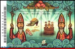 Ref. BR-V2014-25-7 BRAZIL 2014 - CHRISTMAS, RELIGION, CHRISTMAS OF ST. NICHOLAS, SOUVENIR SHEET MNH 2V - Brazil