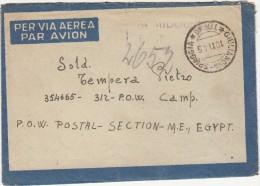 GIULIANOVA SPIAGGIA 1945 - AEROGRAMMA IN FRANCHIGIA DIRETTO A PRIGIONIERO DI GUERRA IN EGITTO - SX062 - 5. 1944-46 Luogotenenza & Umberto II