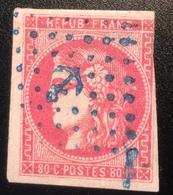 France Emission De Bordeaux 1870 80c Rose Obl. ANCRE BLEU Signé Pascal Scheller Yv. 49= 380€ - 1870 Emission De Bordeaux