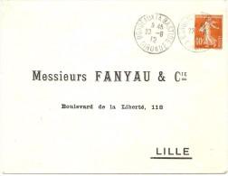LBL33 -SEMEUSE CAMEE 10c REPIQUAGE MM. FANYAU  VOYAGEE BORDEAUX 23/8/1912 - Entiers Postaux