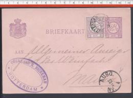 PAYS-BAS - 1892 - CARTE ENTIER POSTAL + COMPL. D'AFFRANCHISSEMENT DE ROTTERDAM VERS MAINZ - - Interi Postali