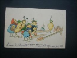Joyeuses Päques Poussins Humanisés Jeu De Quilles - Circulée 1910 L212 - Pasen