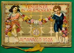 PICCOLO CALENDARIO TENDENZE IN GERMOGLIO CROMOLITOGRAFICO 1928
