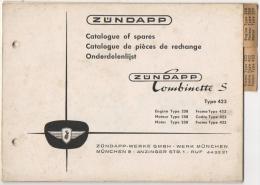 Moto Zundapp. Catalogue De Pièces De Rechange. Zundapp Combinette S. Type 258 & 423. - Motos