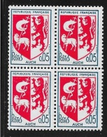 BLOC DE 4 TIMBRES N° 1468  - ARMOIRIE DE AUCH  -  1966  -  NEUF - Francia