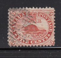 Canada Used Scott #15 5c Beaver, Vermilion - First Cents Issue - Oblitérés