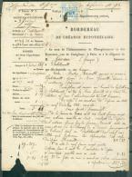 Timbre Impérial Dimension à 50 Cents , Sur Bordereau De Créance Hypothécaire En 1864 - Malc6302 - Fiscale Zegels